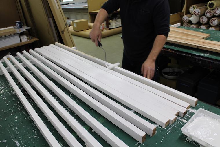 看板を支える脚の製作写真